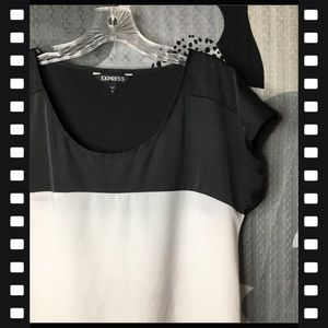 EXPRESS • Black and White Split Color Blouse